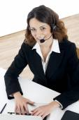 Woman customer service worker, call center smiling operator — Stock Photo