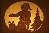 Christmas woodcut — Stock Photo