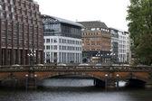 City house bridge Hamburg — Stock Photo