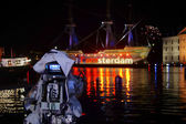 Camera shots on the old ship Amsterdam — Stock Photo