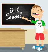 Crying boy in school — Stock Vector