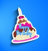 Birthday cake sticker — Stock Vector
