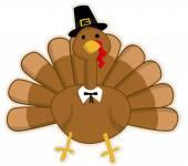 Cute cartoon Thanksgiving turkey — Stock Vector