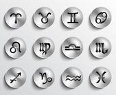 Signos del zodiaco botones — Vector de stock