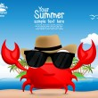 Summer background with a cute cartoon crab — Stock Vector #66723385