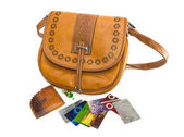 Ladies handbag, wallet and bank cards — Stockfoto