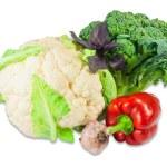 Cauliflower, broccoli, bell pepper, garlic and basil — Stock Photo #77921652