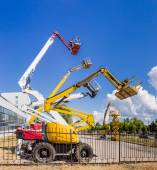 Several various self propelled articulated boom lift and scissor — Stockfoto