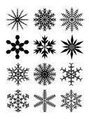Ensemble de beaux flocons de neige — Vecteur