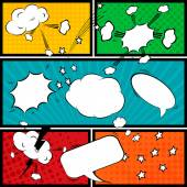 Comic speech bubbles and comic strip background — Stock Vector
