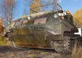 The tracked vehicle for transportation of soldiers  — Stock Photo