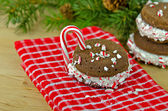 Christmas whoopie pie with candy cane — Stock Photo