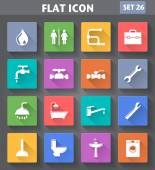 Plumbing Icons set in flat style with long shadows. — Stock Vector