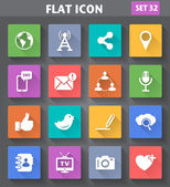 Social Network and Internet Icons set in flat style with long sh — Stock Vector