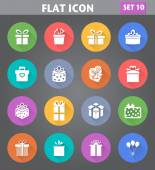 Gift Box Icons set in flat style with long shadows. — Stock Vector