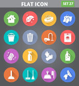 Cleaning Icons set in flat style with long shadows. — Vector de stock