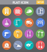 Building, Construction and Tools Icons set in flat style — Stock Vector