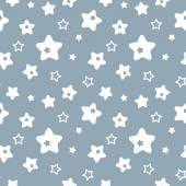 Seamless blue pattern with stars — Stock Vector