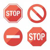 Stop sign, set. Flat design. — Vecteur