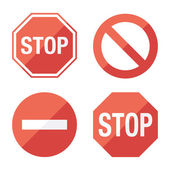 Stop sign, set. Flat design. — Stock vektor