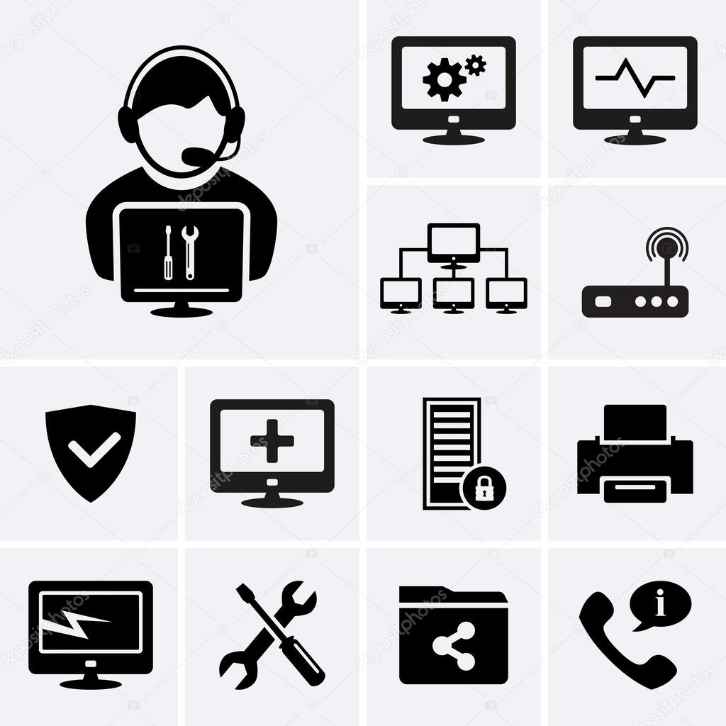 Computer technician icons stock vector ankudi 55880691 for Ict techniker