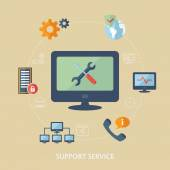 Concept for computer support. Computer technician icons. — Stock Vector