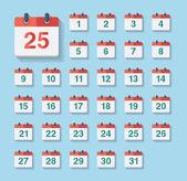 Flat kalender ikoner — Stockvektor