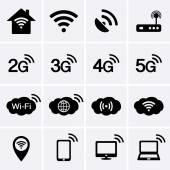 Wireless and Wifi icons. 2G, 3G, 4G and 5G technology symbols. — Stock Vector