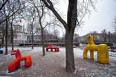 Funny Colorful Statues in The Park of Letna in Prague in Czech Republic — Stock Photo
