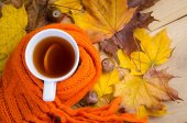 Cup of tea with scarf — Stock Photo
