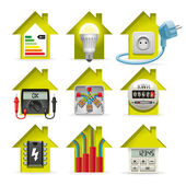 Electricity Home Icons — Stok Vektör