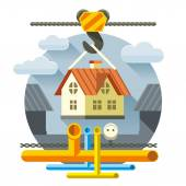 Fast Flat House — Stock Vector