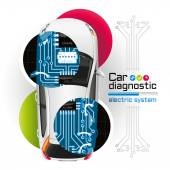 X-ray Car Diagnostic of Electric System — Stock Vector