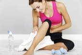 Woman resting after workout — Stock Photo