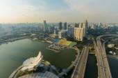 Landscape high view harbor front in singapore — Foto de Stock