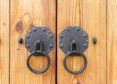 Vintage wooden gate with two door knocker closeup — Stock Photo