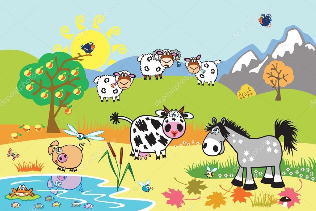 Animali da fattoria fumetto illustrazione — vettoriali