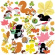 Set with autumnal harvest of forest — Stock Vector