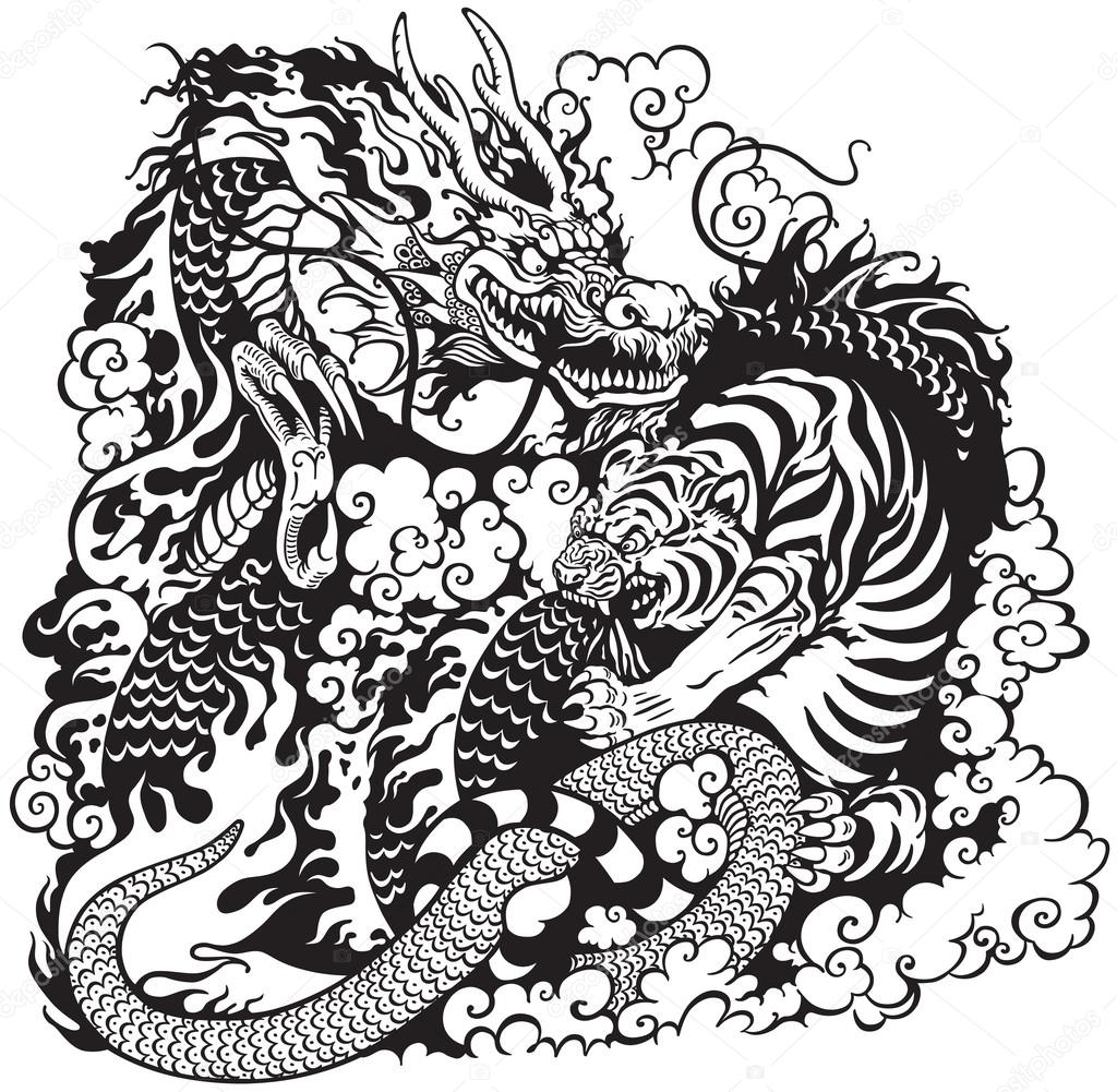 Dragon tiger shaolin tattoo