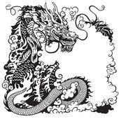 Chinese dragon black white — Stock Vector