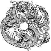 Dragon holding pearl black white — Stockvektor