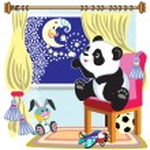 Cartoon panda and moon — Stock Vector #63168329