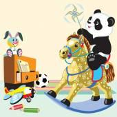 Cartoon panda riding a rocking horse — Stock Vector