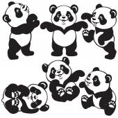 Black and white set  with cartoon panda — Vector de stock