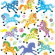 Set with decorative horses — Stock Vector #65046089