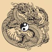 Dragon holding yin yang symbol — Stockvector