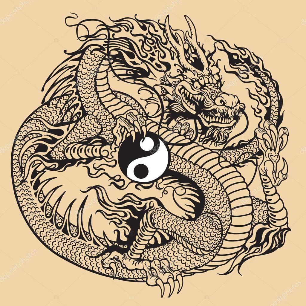 中国龙控股阴阳符号,黑色和白色的纹身图– 图库插图