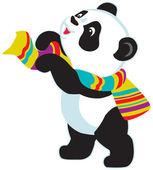 Cartoon panda wearing scarf — Stock Vector