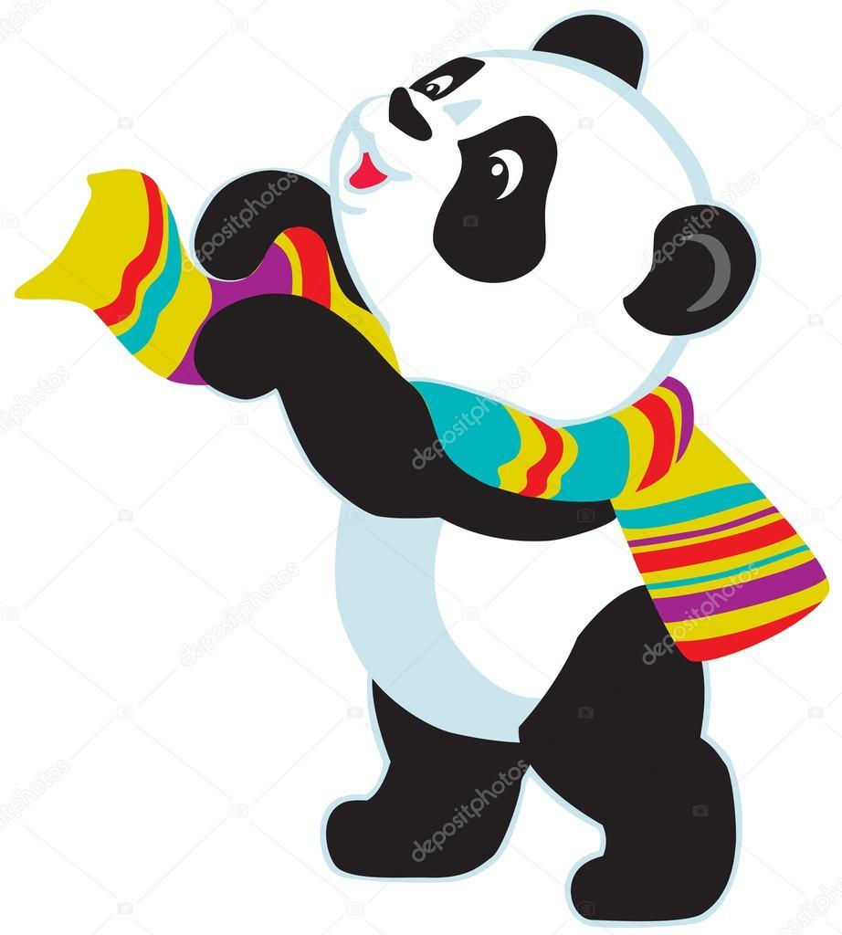 usar bufanda de dibujos animados panda vector de stock panda vector art panda vector free download