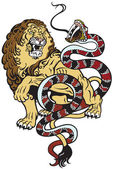 Lion and snake — Stock Vector